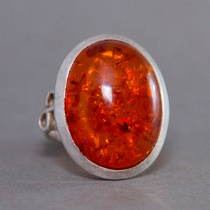 Amber Oval Infinity Sterling Silver Ring US 7 SS-050