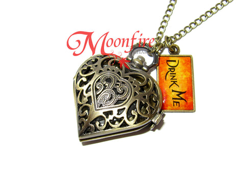 ALICE IN WONDERLAND Queen of Hearts Pocket Watch Necklace