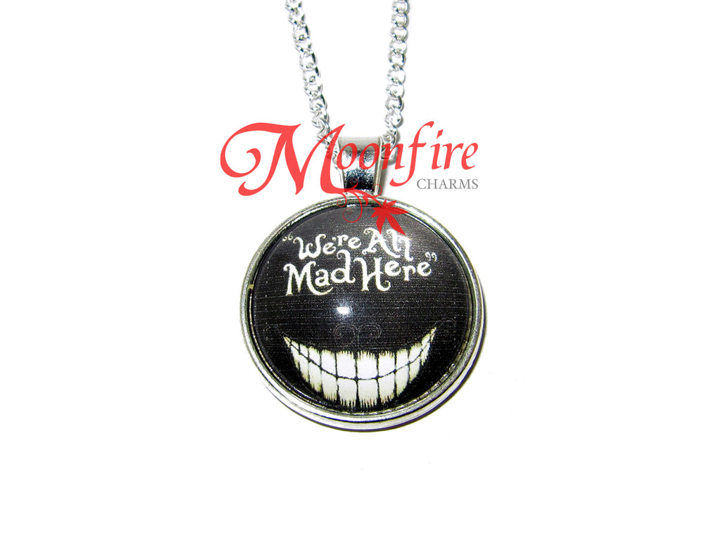 ALICE IN WONDERLAND Cheshire Cat We're All Mad Here Pendant Necklace