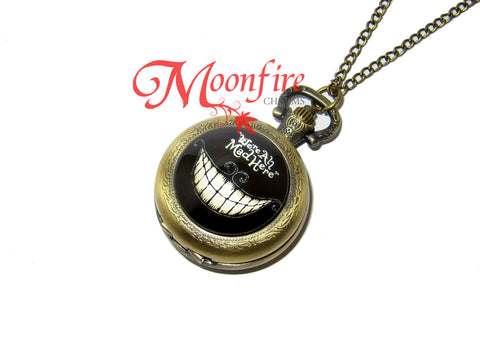 ALICE IN WONDERLAND Cheshire Cat We're All Mad Here Pocket Watch Necklace