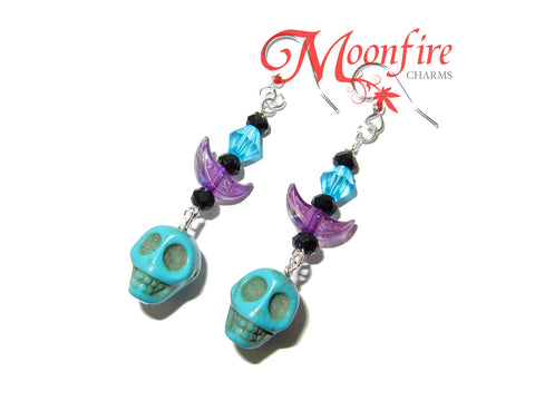 COCO Blue Skull and Crescent Moon Earrings