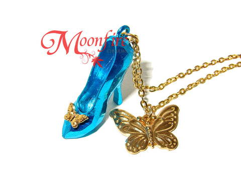 CINDERELLA Glass Slipper Pendant Butterfly Charm Necklace