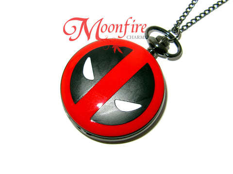 THE AVENGERS Deadpool Mask Logo Pocket Watch Necklace