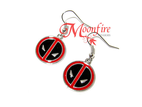 THE AVENGERS Deadpool Mask Logo Earrings