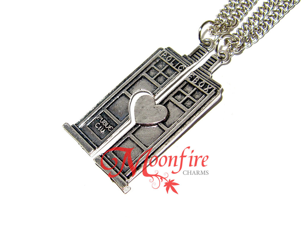 DOCTOR WHO TARDIS Police Box Couple Necklace