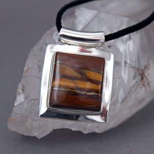 Tiger's Eye Square Omega Sterling Silver Pendant DP-001