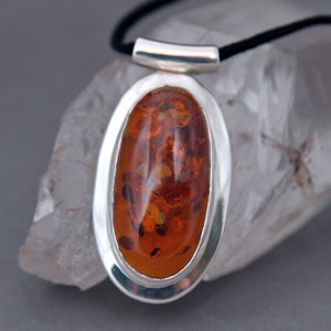 Baltic Amber Elongated Oval Omega Sterling Silver Pendant DP-011