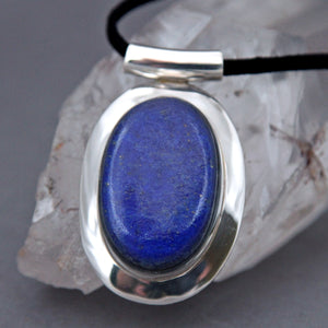 Lapis Lazuli Large Oval Diva Sterling Silver Pendant DP-015