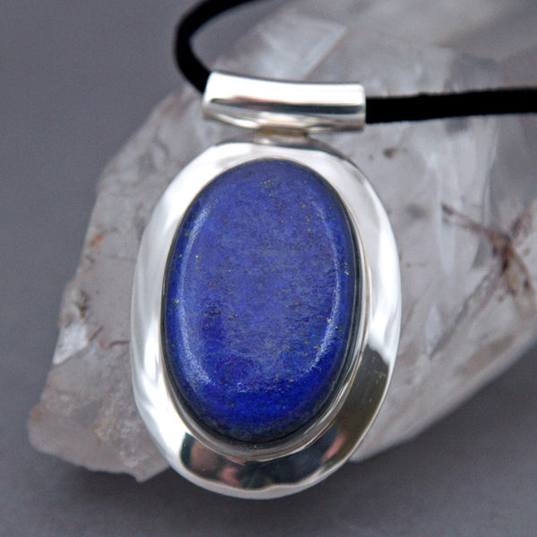 Lapis Lazuli Large Oval Omega Sterling Silver Pendant DP-015