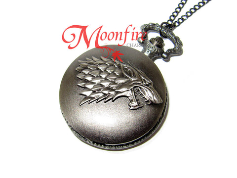 GAME OF THRONES House Stark Pocket Watch Necklace