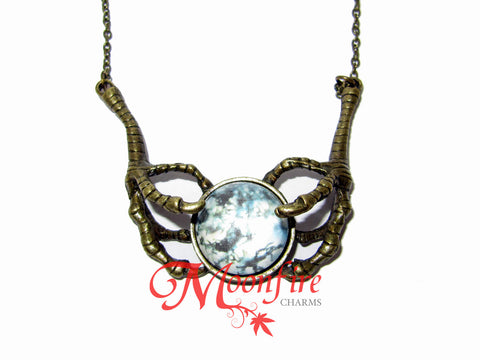 GAME OF THRONES Raven Talon Claws Orb Pendant Necklace