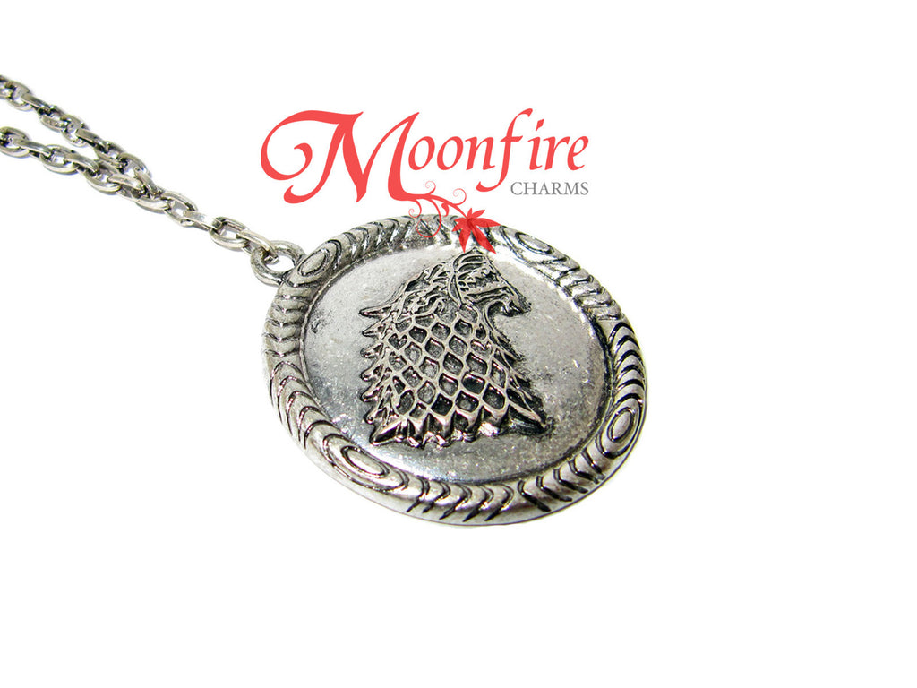 GAME OF THRONES House Stark Winter is Coming Direwolf Necklace
