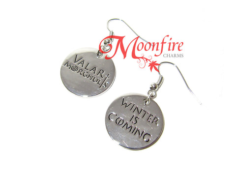 GAME OF THRONES Winter is Coming Valar Morghulis Earrings
