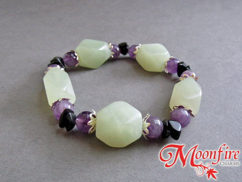 Serpentine, Amethyst and Black Jasper Statement Bracelet GB-001