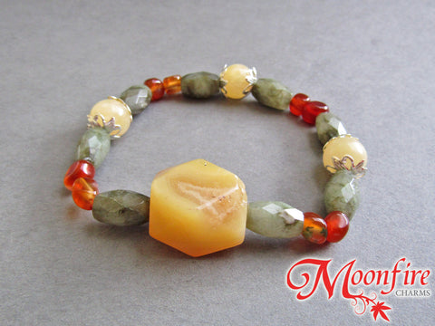 Golden Agate, Labradorite, Carnelian and Calcite Accent Bracelet GB-002