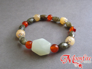 Serpentine, Labradorite, Carnelian and Calcite Accent Bracelet GB-003