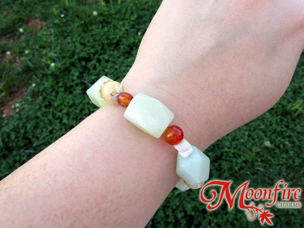 Serpentine, Carnelian, Calcite and Mother-of-Pearl Statement Bracelet GB-004