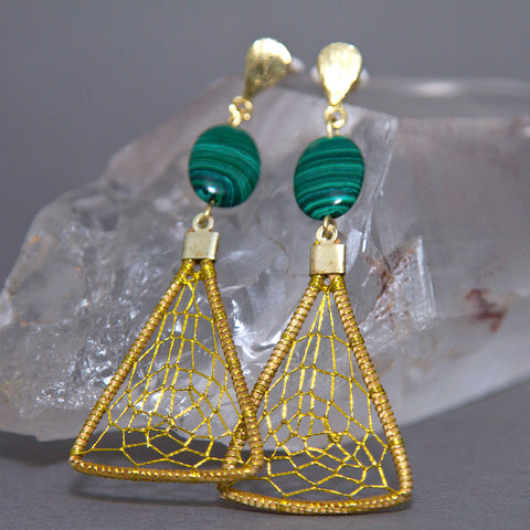 Malachite Triangular Dreamcatcher Golden Grass Earrings GG-001