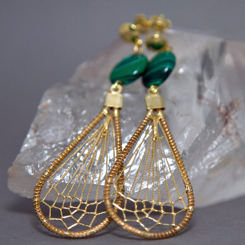 Malachite Teardrop Dreamcatcher Golden Grass Earrings GG-002