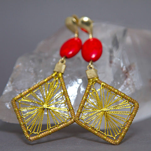Red Howlite Diamond Starburst Golden Grass Earrings GG-003