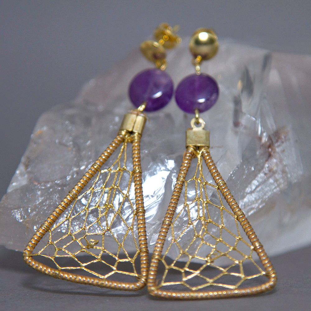 Amethyst Triangular Dreamcatcher Weave Golden Grass Earrings GG-004