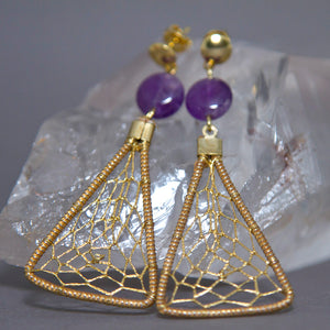 Amethyst Triangular Dreamcatcher Golden Grass Earrings GG-004