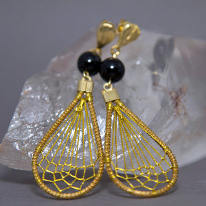 Black Onyx Teardrop Dreamcatcher Weave Golden Grass Earrings GG-005