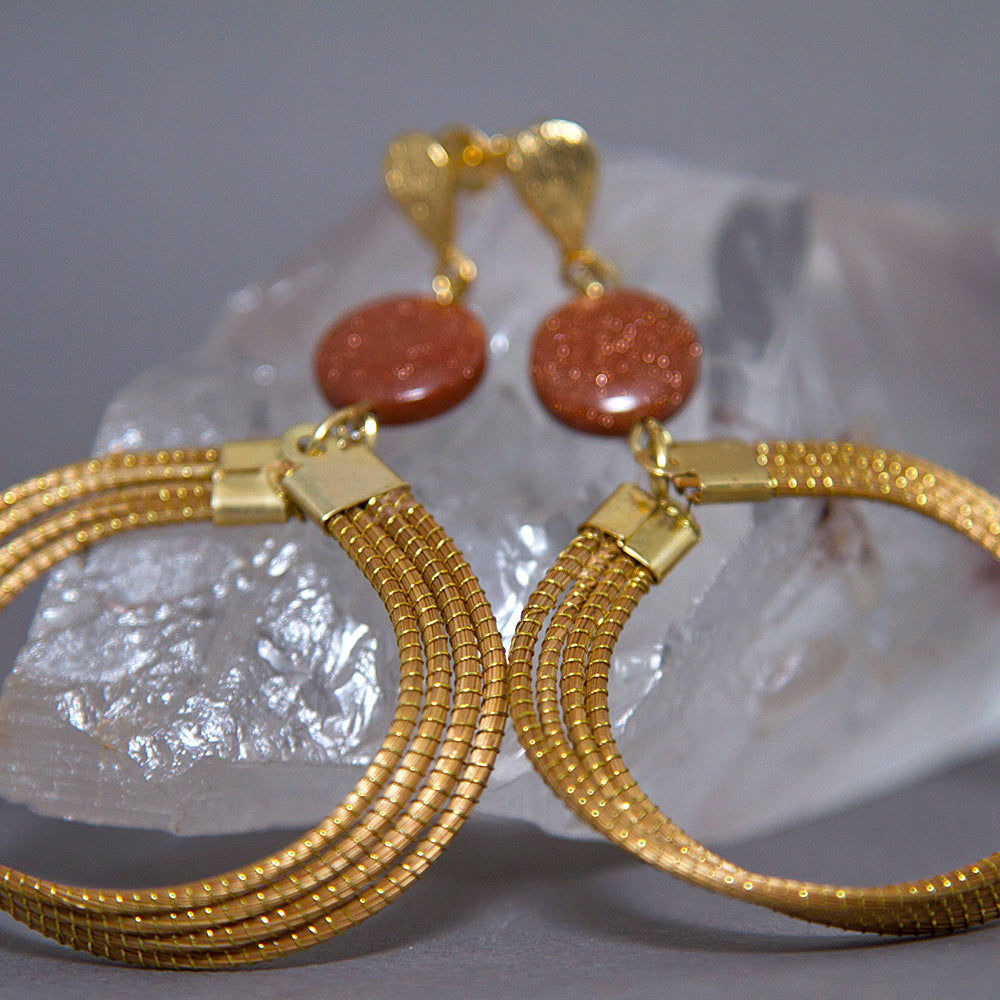 Brown Goldstone Woven Layered Hoops Golden Grass Earrings GG-006
