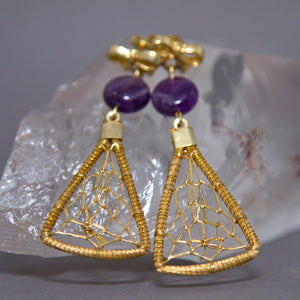 Amethyst Triangular Dreamcatcher Weave Golden Grass Earrings GG-007