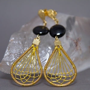 Black Onyx Teardrop Dreamcatcher Weave Golden Grass Earrings GG-008