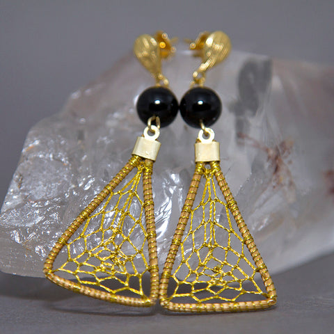 Black Onyx Triangular Dreamcatcher Golden Grass Earrings GG-009