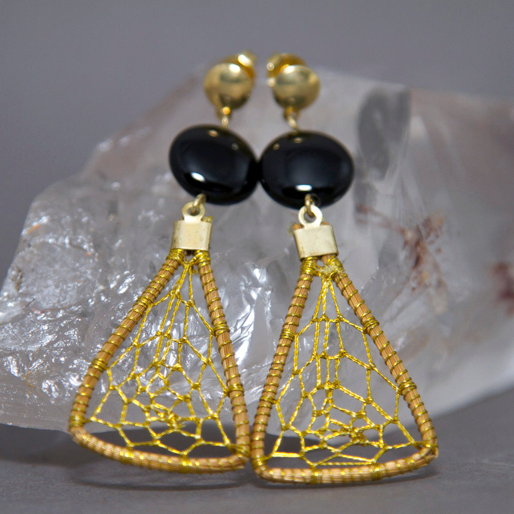 Black Onyx Triangular Dreamcatcher Golden Grass Earrings GG-010