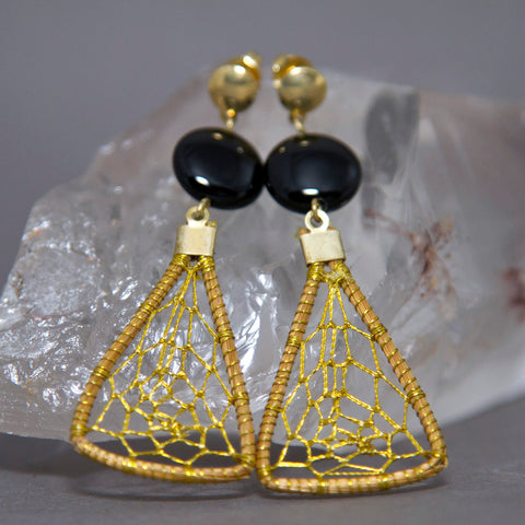 Black Onyx Triangular Dreamcatcher Weave Golden Grass Earrings GG-010