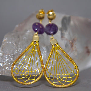 Amethyst Teardrop Dreamcatcher Weave Golden Grass Earrings GG-011