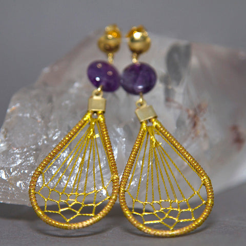 Amethyst Teardrop Dreamcatcher Golden Grass Earrings GG-011