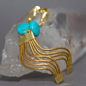 Blue Turquoise Cascading Waves Golden Grass Earrings GG-012