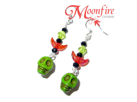 COCO Green Skull and Crescent Moon Earrings
