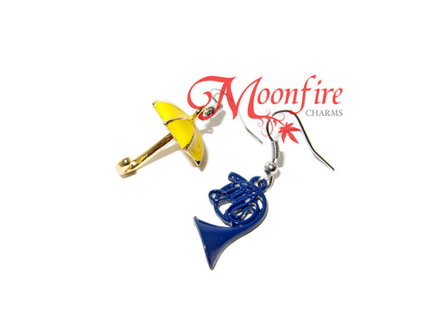 HOW I MET YOUR MOTHER Blue French Horn and Yellow Umbrella Earrings