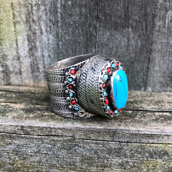 Afghan Kuchi Ornate Oval Blue Turquoise Ring US 11 KJ-002