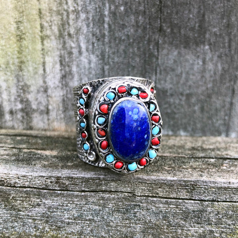 Afghan Kuchi Ornate Oval Lapis Lazuli Ring US 11 KJ-003