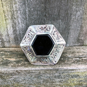 Afghan Kuchi Large Hexagon Black Onyx Ring US 7.5 KJ-004