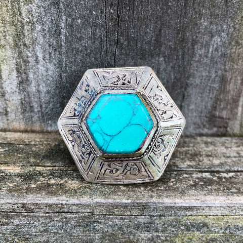 Afghan Kuchi Large Hexagon Teal Turquoise Ring US 7.5 KJ-005
