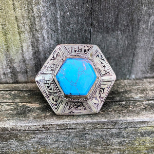 Afghan Kuchi Large Hexagon Blue Turquoise Ring US 7.5 KJ-006