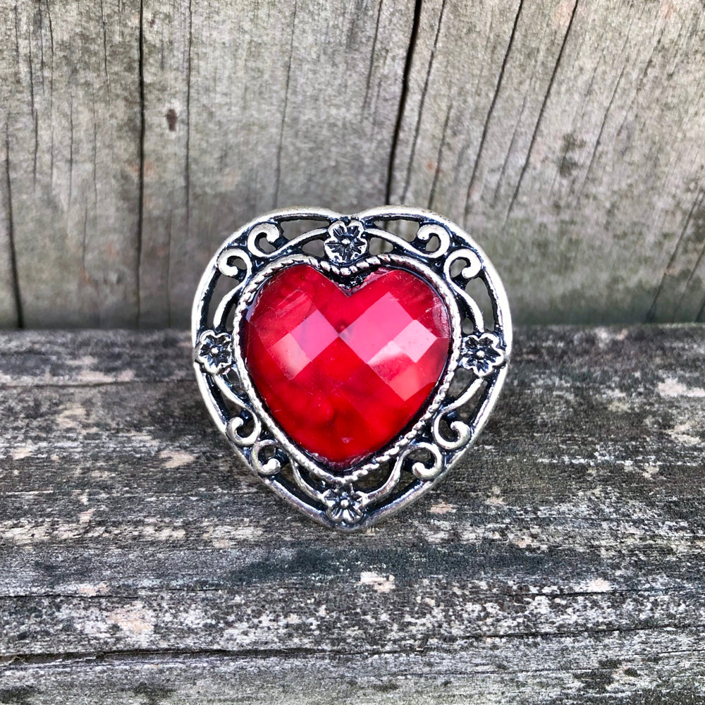 Afghan Kuchi Ornate Heart Red Agate Ring Adjustable KJ-008