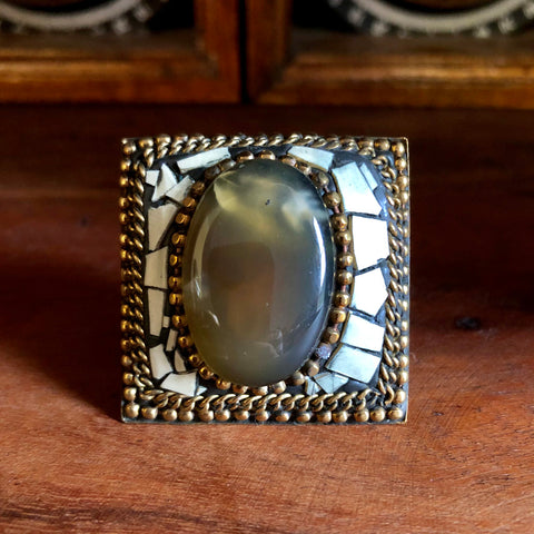 Afghan Kuchi Beaded Boho Brass Taupe Agate Statement Ring Adjustable KJ-019