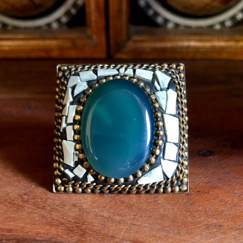 Afghan Kuchi Beaded Boho Brass Cerulean Agate Statement Ring Adjustable KJ-020
