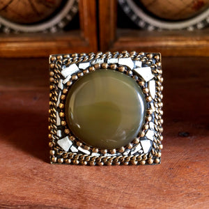Afghan Kuchi Beaded Boho Brass Pistachio Agate Statement Ring Adjustable KJ-021
