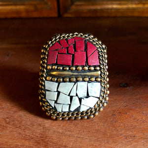 Afghan Kuchi Beaded Boho Brass Coral and Turquoise Statement Ring Adjustable KJ-022