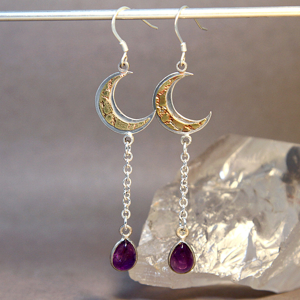 Crescent Moon Amethyst Mixed Metals Earrings