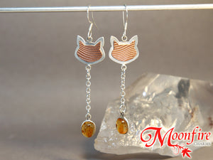 Cat Lover Amber Mixed Metals Earrings